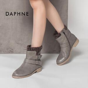 达芙妮冬热卖 英伦潮休闲圆头平底女鞋短靴子