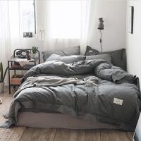 北欧日式条格宽边水洗棉双人床单四件套单人床笠被套床上用品套件