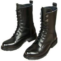 AOTU 秋季男士马丁靴男牛皮短靴夏潮流男靴英伦高帮鞋圆头中筒靴