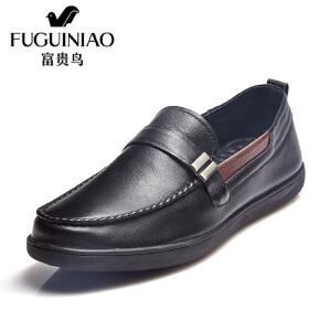 富贵鸟男鞋  新品平底商务休闲鞋 韩版套脚休闲皮鞋男
