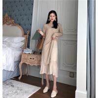 秋装新款韩国雪纺吊带中长款连衣裙+外搭长袖开叉针织衫两件套女 均码
