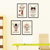 可移除墙贴纸贴画抽象个性创意家居客厅墙壁装饰相框美式动物头像 墙贴3D立体墙贴画墙贴ins少女<手绘动物相框 墙贴挂钩