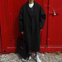 秋冬季男士妮子大衣中长款韩国宽松呢子风衣潮流青年毛呢外套加厚 黑色 M