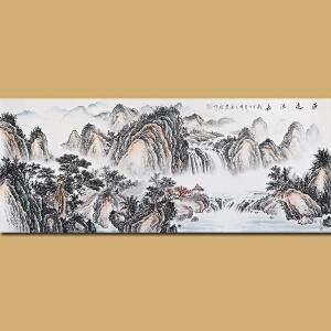中国神州画院院长 著名山水画家粱震龙先生作品――源远流长