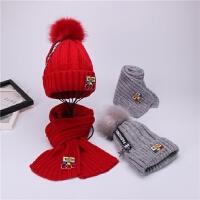 秋冬儿童帽子围巾两件套男童女童加绒毛线帽冬天学生针织围脖套装