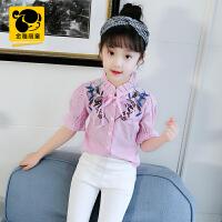 小女孩条纹短袖上衣 女童衬衣夏装新款中大童木耳边衬衫