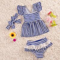 儿童游泳衣女童宝宝分体海军条纹裙式蕾丝泳衣婴儿泳装