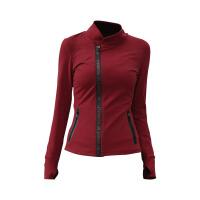 秋冬健身服女瑜伽女子立领瑜伽服上衣长袖运动紧身拉链开衫外套 酒红色