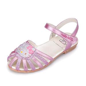 hellokitty童鞋 女童凉鞋2016夏季新款儿童包头凉鞋女童公主凉鞋