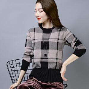 2018冬新款套头毛衣女格子民族风针织衫圆领大码打底衫