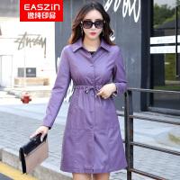 EASZin逸纯印品 2017秋新款皮衣女中长款PU皮外套 韩版束腰显瘦款风衣