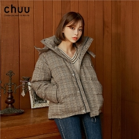 chuu短款羽绒服女白鸭绒2019冬季新款韩版时尚小个子加厚连帽外套