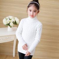 秋冬韩版新款中大童针织衫儿童打底衫 女童毛衣套头中长款加厚高领 白 色