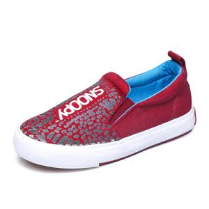史努比童鞋男童帆布鞋儿童运动鞋中大童布鞋时尚板鞋