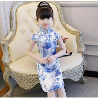 女童旗袍夏女宝宝公主裙儿童中国风唐装礼服儿童古筝演出服连衣裙