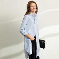 【到手价:168元】Amii设计感小众polo领条纹衬衫女2020春装新款宽松中长款长袖衬衣