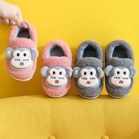 冬季儿童棉拖鞋1-3岁2男女童厚底包跟保暖鞋卡通室内居家宝宝棉鞋