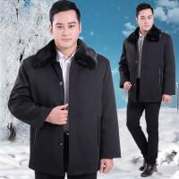 中老年男装棉衣冬装外套加肥加大男士老人棉袄加厚尼克服 黑色