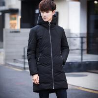 2017冬季中长款潮流加厚纯色羽绒服男韩版修身青年男士白鸭绒外套