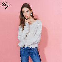【每满200减100】Lily2018冬新款女装商务时尚不规则立体剪边毛衣117419B8904