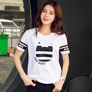 新品韩版百搭宽松圆领棉短袖T恤女装拼接撞色印花小衫