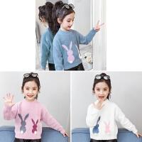 女童毛衣套头加绒加厚秋冬装新款洋气儿童装打底针织衫