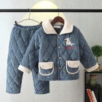 �和�睡衣三��A棉男孩女童中小童珊瑚�q保暖家居服套�b