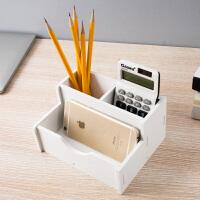 多功能笔筒可爱大容量办公用品韩国小清新简约学生办公桌面收纳盒 白色 多功能笔筒