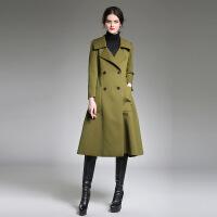 0718欧美秋冬女装新款双排扣修身军旅风大衣加长款外套女