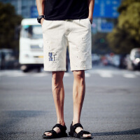 夏季休闲牛仔短裤男大码五分裤宽松薄款韩版潮流夏天大裤衩破洞