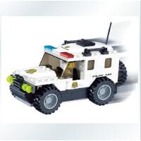 万格拼插塑料拼装积木小人警察车模型040222清仓
