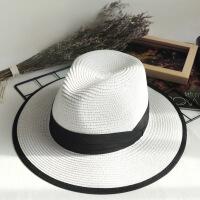 草帽女夏天休闲百搭韩版礼帽子遮阳帽可折叠沙滩帽度假防晒渔夫帽 可调节