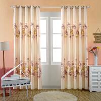 简约现代田园窗帘成品小清新遮光卧室客厅落地窗阳台印花布料