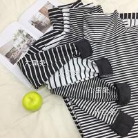 加绒高领条纹打底衫女长袖T恤2017秋冬新款韩版体恤保暖内搭上衣