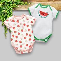女宝宝夏季三角哈衣婴儿连体衣薄款短袖包屁衣