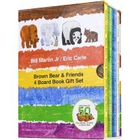 【首页抢券300-100】Brown Bear & Friends 4 Board Book Gift Set 艾瑞?卡