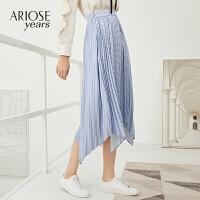 艾诺丝雅诗春新款半身裙A字裙中长款设计感百褶裙