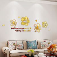 水晶亚克力3D立体墙贴画墙壁装饰画爱的花朵温馨卧室客厅简约现代