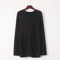韩观秋季长袖套头针织衫韩版宽松休闲百搭黑色毛衣打底衫女装 黑色