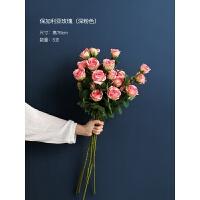 防真玫瑰花假花仿真花客厅花瓶摆件餐桌装饰花插花束家居摆设绢花