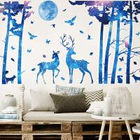 装饰贴创意房间装饰品星空鹿沙发背景墙客厅卧室床头自粘墙壁贴纸墙贴画 星空鹿 超大