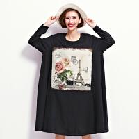 大码春季韩国正版女装长袖棉麻连衣裙孕妇超长裙宽松体恤胸围130