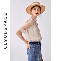 【2件8折/3件75折】云上生活2019夏新款文艺气质衬衣短袖纯色衬衫女C5906