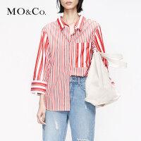 MOCO2019夏季新品纯棉翻领个性条纹拼接衬衫MAI2SHT013 摩安珂