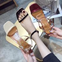 粗跟时尚女鞋夏季新款韩版百搭细带一字式露趾仙女风高跟凉鞋
