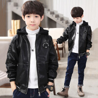 男童外套秋款中大童皮衣冬季儿童夹克加绒男孩冬款