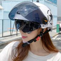 野�R夏天��榆��^盔女摩托�安全帽夏季�p便式��防�褡贤饩�半盔