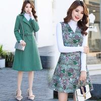 套装裙女装冬季新款毛呢外套三件套韩版中长款连衣裙