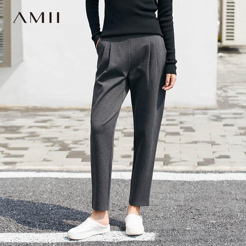 Amii[极简主义]利落睿智 皱褶休闲九分裤女 2017冬装新款宽松长裤
