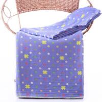 纱布毛巾被纯棉透气单双人床单儿童加厚盖毯夏季空调毯子 浅紫色 四叶草-三层被
